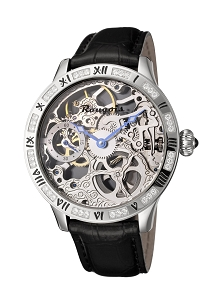 Rougois Steel Skeleton Watch with Crystals on the Bezel