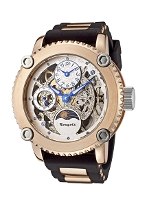 Rougois Skeleton Two Time Zone Mechanical Watch Rose Gold