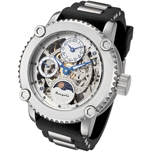 Rougois Skeleton Two Time Zone Mechanical Watch Silver Dial