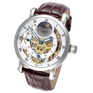 Rougois Dual Time Zone Skeleton Watch with Brown Leather Band