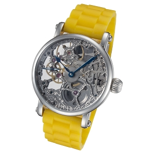 Rougois Skeleton Mechanical Watch with Yellow Rubber Strap