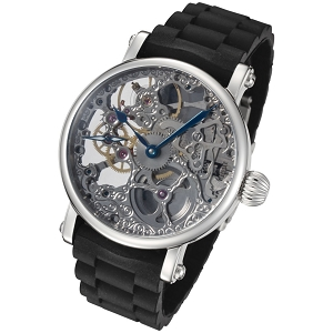 Rougois Mechanical Silver Skeleton Watch Black Rubber Strap