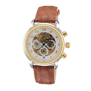 Charles Hubert Paris Mens Two-Tone Stainless Steel Case Mechanical Watch