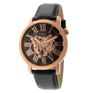 Rotary Swiss Men's Automatic Rose Gold Tone Skeleton Watch