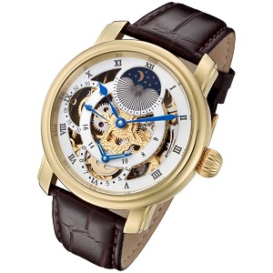 Rougois Gold Case and Gold Movement Dual Time Zone Skeleton Watch