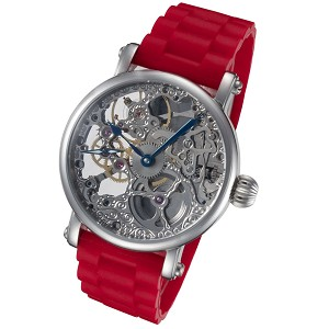 Rougois Silver Tone Skeleton Watch Red Rubber Strap