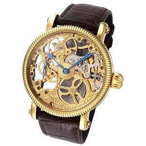 Rougois Mechanical Gold Skeleton Watch Brown Leather Band