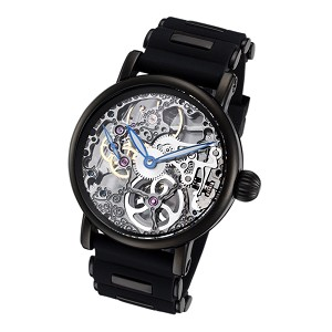 Rougois Tattoo Black Mechanical Skeleton Watch with Silicone Band
