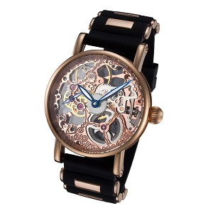 Rougois Mechanical Rose Gold Skeleton Watch with Silicone Band