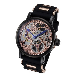 Rougois Rose Gold Skeleton Face Watch with Silicone Band