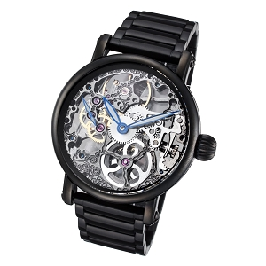 Rougois Black Mechanical Skeleton Watch Black Stainless Steel Band