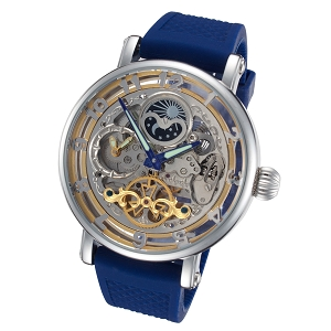 Rougois Skeleton Automatic Moon Phase Watch Blue Band