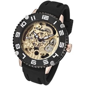 Rougois Skeleton Automatic Mechanical Watch Rose Gold Case & Lugs