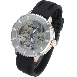 Rougois Skeleton Watch - Silver Bezel and Rose Gold with Crystals