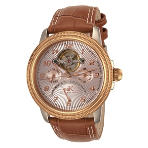 Adee Kaye Men's Automatic Retrograde Skeleton Watch Rose Gold Case & Dial