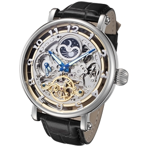 Rougois Big Skeleton Automatic Watch Dual Time Moon Phase