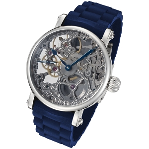 Rougois Hand Wind Skeleton Watch with Dark Blue Rubber Strap