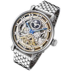 Rougois Automatic Skeleton Moonphase Watch Dual Time
