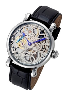 Rougois Mechanique Skeleton Watch In Stainless Steel with Black Band