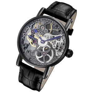 Tattoo Black Mechanical Skeleton Watch by Rougois