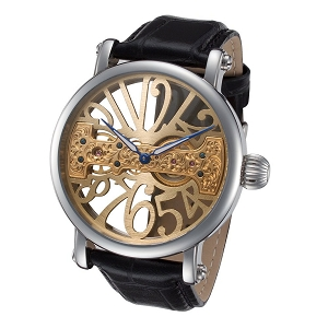 Gold Tone Skeleton Face Watch with Bridge Mechanical Movement by Rougois
