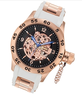 Rougois Rose Gold Skeleton Dial Naval Diver Automatic Watch