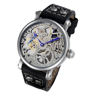 Rougois Mechanique Silver Skeleton Watch Leather Black Rivet Band