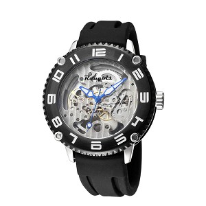 Rougois Black Skeleton Automatic Mechanical Watch