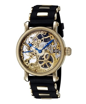 Rougois Hand Wind Gold Tone Skeleton Watch