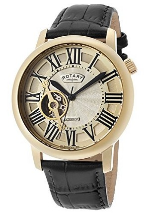 Rotary Gold Tone Skeleton Display Automatic Watch