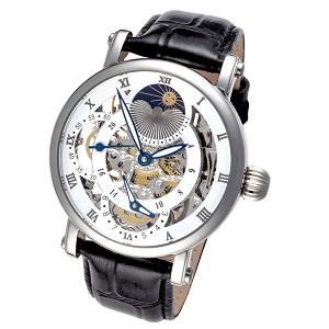 Rougois Dual Time Zone Skeleton Watch with Black Leather Band