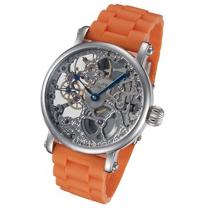 Rougois Mechanical Skeleton Watch with Orange Rubber Strap
