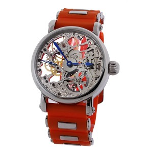 Rougois Mechanique Silver Tone Skeleton Watch Orange Rubber Strap