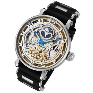 Rougois Automatic Skeleton Moonphase Dual Time Watch - Silicone Band