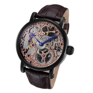 Rougois Tattoo Rose Gold Skeleton Face Watch