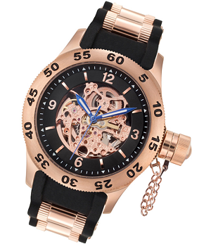 Skeleton Naval Diver Automatic Rose Gold Watch by Rougois