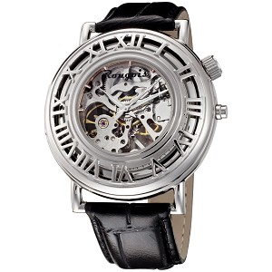 Rougois Open Skeleton Mechanical Watch Silver Tone