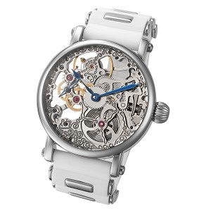 Rougois Mechanique Silver Tone Skeleton Watch White Silicone Band